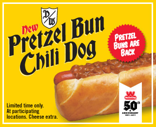 graphic about Printable Wienerschnitzel Coupons known as Wienerschnitzel Coupon: Totally free Pretzel Bun Chili Canine Her Personal savings