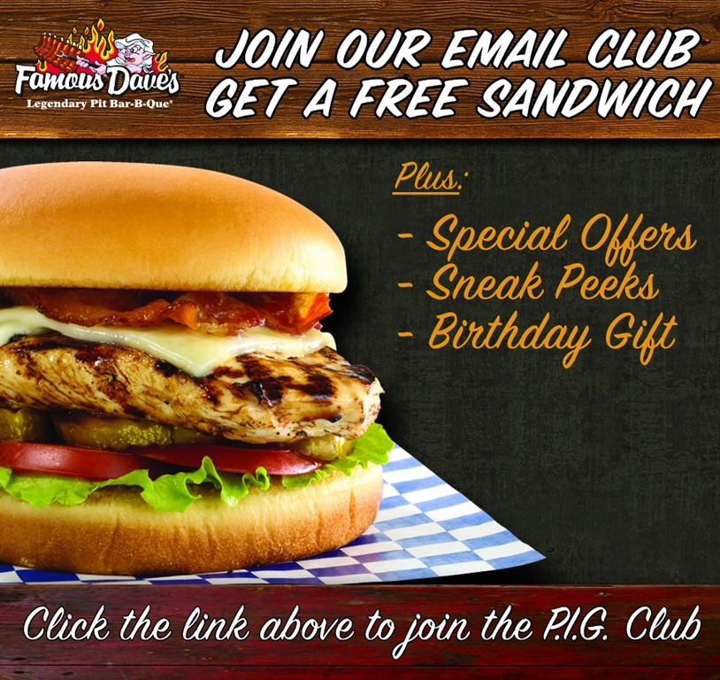 graphic regarding Famous Dave's Printable Coupons identify Free of charge Birthday Foodstuff
